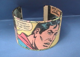 The Man of Steel - Superman Comic Cuff - Repurposed Vintage Comics