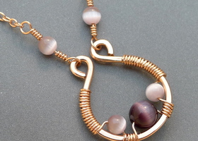 Copper Hoop Necklace with Purple Cats Eye