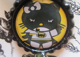 Hello Kitty Batman Superhero Bottlecap Necklace