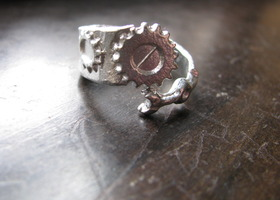 Silver Pewter Clock Gear Ring ( size 7- 13)