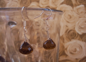 simple Whiskey quartz earrings