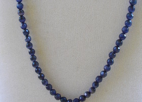 HANDCRAFTED DARK PURPLE CATS EYE BEAD NECKLACE WITH IOLITE DANGLE