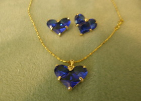 Royal Blue Created Saphire 18K White Gold Plated Necklace and Earriing set