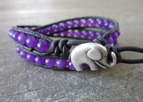 2Good Luck Elephant & 6mm Amethyst Leather Wrap Bracelet