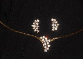 vintage wedding jewelry rhinestone necklace set
