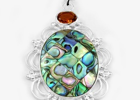 65ct Mosaic Jasper Gemstone Pendant in 925 stamped Silver with Necklace
