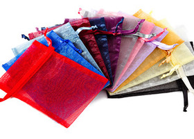 (Lot of 100) Sheer Organza Bags assorted colors