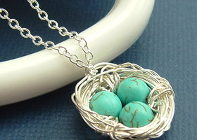 (3 piece set)Birds nest necklace +matching earrings