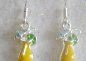 Yellow Tropical Drink Earings