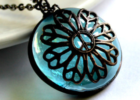 Stained Glass Necklace – Light Aqua Iridescent – Peaceful  Flower Filigree