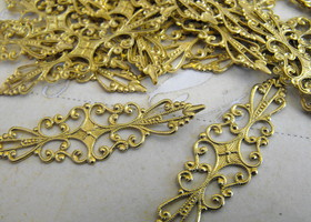 33 Gold Tone Brass Filigree Ring Base or Connector