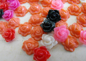 60 Small Resin Flower Cabochons Assorted Styles and Colors