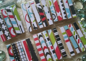Decorative Decoupaged Clothespins Paper Both Sides SET OF 30 Travel Mix