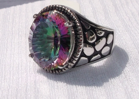 Rainbow Topaz Sterling Silver Ring Size 8
