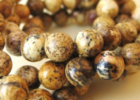 Picture Jasper Genuine Gemstone, x30 Beads, 6mm Round
