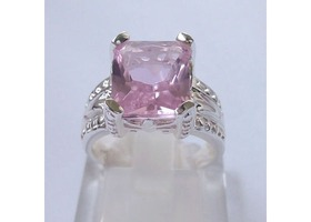 Sterling Silver Marked with 925 Beautiful Pink Sapphire Size 7