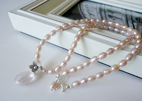 Mauve Pink Pearl And Rose Quarts Necklace
