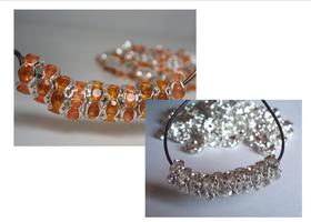 Crystal (100 pcs) and Yellow-Orange Spacers (100pcs) Bundle, 8mm Rhinestone Rondelles