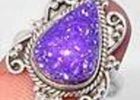 Elite Purple Druzy Pear Ring 925 Sterling Silver Solitaire Artisan Ring