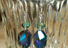 Large, Bold Blue Irridescent Crystal earrings