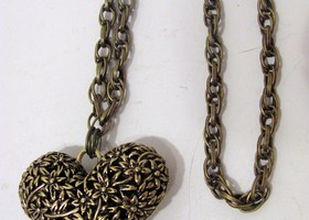 Bronze Heart Pendant Long Necklace