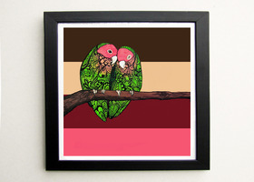 Love Bird Zentangle Art Print , Agapornis roseicollis (Rosey-Faced Love Bird)