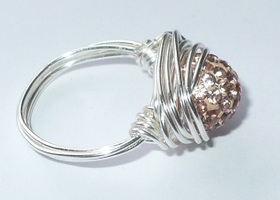 Handwired Champagne Rhinestone Ring - Any Size