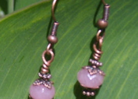 Pink Ruby and Copper Accent Earrings