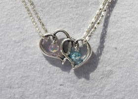 Couples Love Crystal (w/ Your Choice of  Birthstone Colors) Necklace