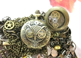 Steampunk Mini Owl Pocket Watch Necklace AND Locket Ring