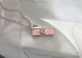 Pink camera charm necklace
