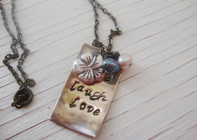 Live laugh love antiqed brass hand stamped necklace with freshwater pearls