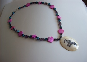 Mother Of Pear & Gemstone Necklace