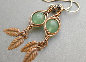 Oxidized Copper and Green Aventurine Earrings
