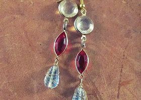 Boho-Style Lucite & Glass Earrings