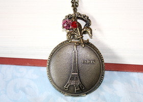"""L'amour Paris"" Pocket Watch/Necklace"