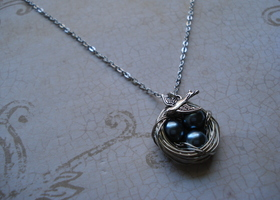 New Teal blue Colored Bird's Nest Necklace in Silver