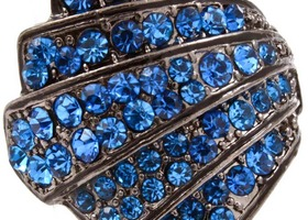 art deco crystal ring, gunmetal & blue