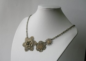Brass Flower Blossom Necklace - Antique Brass Flower Filigree - Statement Necklace