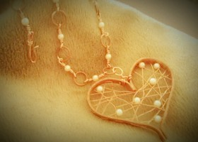Copper weaved heart Necklace