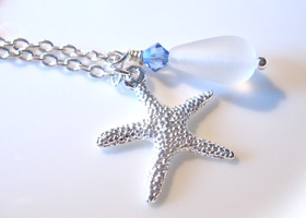 Starfish necklace with White sea glass bead with & sapphire swarovski crystal