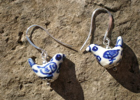 Hand Painted Ceramic Bird Earrings