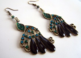 Genuine Emerald and Peacock Earrings