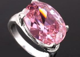 eLuna Lady's Cocktail Silver Ring Size 6 Oval Pink CZ 14.5ct Gemstone