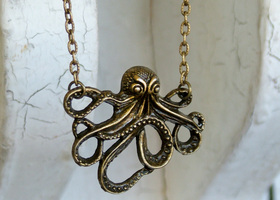Steampunk Octopus Necklace in Antique Bronze