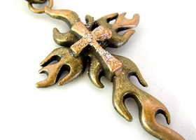 Flaming Cross Charm with Antique Bronze Chain Necklace