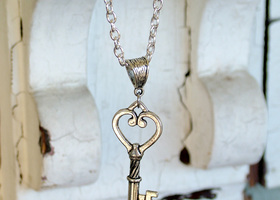 Key to My Heart Charm on Silver-Plated Chain Necklace