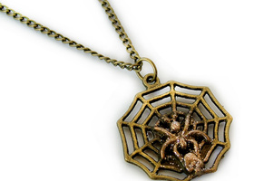 Spooky Spider Charm on Antique Bronze Chain