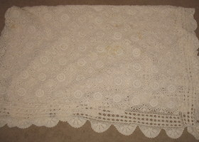 Handcrocheted Full Size Coverlet Bedspread Antique 100 Yrs Old