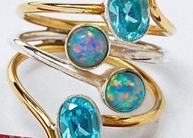 Two Tone Fire Opal  & Blue  Topaz 925 Sterling  Silver Ring  Size 8
